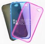 Силиконовый чехол для iPhone 4/4S ультратонкий (прозрачный/черный)