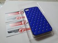 Чехол для iphone4-4s синий со стразами