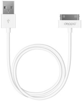 Кабель интерфейсный USB Deppa, Apple iPhone 3GS/ 4S/ iPod/ iPad - 30-pin, белый