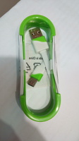 USB кабель MicroUSB плоский в катушке бело-зеленый